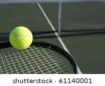 tennis ball on a racket with... | Shutterstock . vector #61140001