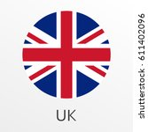 flag of uk round icon or badge. ... | Shutterstock .eps vector #611402096