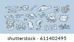sea animals cute collection... | Shutterstock .eps vector #611402495