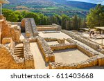 Small photo of GRETE ISLAND, GREECE, SEP 12, 2012: Antique Knossos temple palace on Greece island Grete near to Heraklion. Palace of Minos. Greece mythology myths - Minotaur maze temple castle Greece island holidays