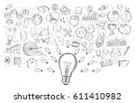 hand drawn lightbulb with... | Shutterstock . vector #611410982