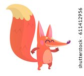 cartoon fox character. vector... | Shutterstock .eps vector #611412956