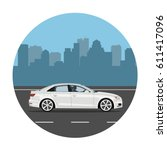 car on the road over city... | Shutterstock .eps vector #611417096