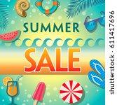 summer sale banner design...   Shutterstock .eps vector #611417696