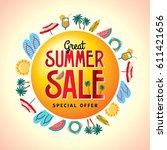 summer sale banner design... | Shutterstock .eps vector #611421656