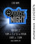 quiz night vector background | Shutterstock .eps vector #611423876