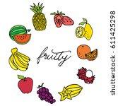 fruity hand drawn vector set in ... | Shutterstock .eps vector #611425298