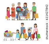 families shopping concept... | Shutterstock .eps vector #611427842