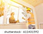 teamwork between artisan and... | Shutterstock . vector #611431592