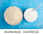 dairy products on blue... | Shutterstock . vector #611433116