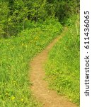 path in the field among the... | Shutterstock . vector #611436065