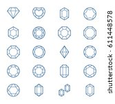 vector set with outline gems ...