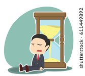 businessman is sleeping against ... | Shutterstock .eps vector #611449892