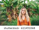 portrait of young blonde happy...   Shutterstock . vector #611451068