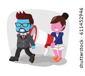 blue businessman and pink woman ... | Shutterstock .eps vector #611452946