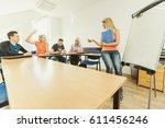 teaching concept. female... | Shutterstock . vector #611456246