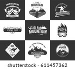 set of snowboarding extreme... | Shutterstock .eps vector #611457362