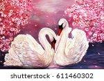 Oil Painting Swan Pink Flowers