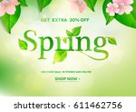 spring sale.green background... | Shutterstock .eps vector #611462756