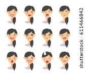 set of asian emoji character.... | Shutterstock .eps vector #611466842