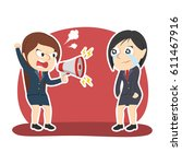 businesswoman yelling with... | Shutterstock .eps vector #611467916