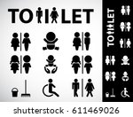 wc icon. toilet sign. vector ... | Shutterstock .eps vector #611469026