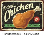 fried chicken retro sign design ... | Shutterstock .eps vector #611470355