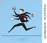 business characters. running... | Shutterstock .eps vector #611472422