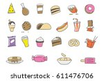 junk food color icons | Shutterstock .eps vector #611476706