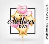 mother day heart gold balloons | Shutterstock .eps vector #611479676