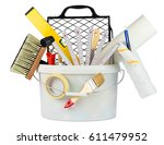 paint bucket filled with... | Shutterstock . vector #611479952