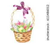 hand drawn watercolor ester... | Shutterstock . vector #611486012
