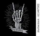 rock roll skeleton hand print... | Shutterstock .eps vector #611487302