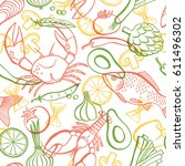 vector hand drawn seafood and... | Shutterstock .eps vector #611496302