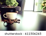 a cup of latte coffee with... | Shutterstock . vector #611506265