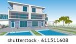 townhouse  3d illustration | Shutterstock . vector #611511608
