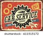 Car service vintage tin sign design concept for garage or auto mechanic. Retro signboard with transportation theme on red background. Vector illustration. - stock vector