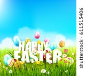 cute easter template with... | Shutterstock .eps vector #611515406