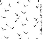 seagull pattern. decorative... | Shutterstock .eps vector #611524778