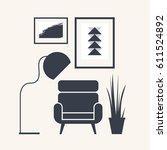 furniture elements of interior... | Shutterstock .eps vector #611524892