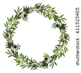 wreath with olive. watercolor...   Shutterstock . vector #611525405