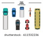 top view cars bike bus truck | Shutterstock .eps vector #611532236