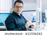 dentists in his laboratory   Shutterstock . vector #611536262
