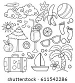 set of various hand drawn items ... | Shutterstock .eps vector #611542286