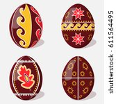 set of easter eggs with a... | Shutterstock .eps vector #611564495