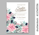 peony wedding invitation... | Shutterstock .eps vector #611565536