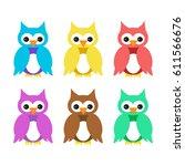 owl cartoon set colorful... | Shutterstock .eps vector #611566676
