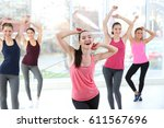 young sporty women training in... | Shutterstock . vector #611567696