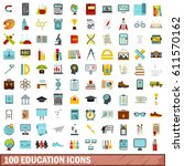100 school icons set in flat... | Shutterstock .eps vector #611570162