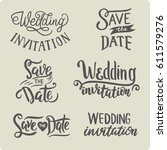 set of hand drawn lettering... | Shutterstock .eps vector #611579276